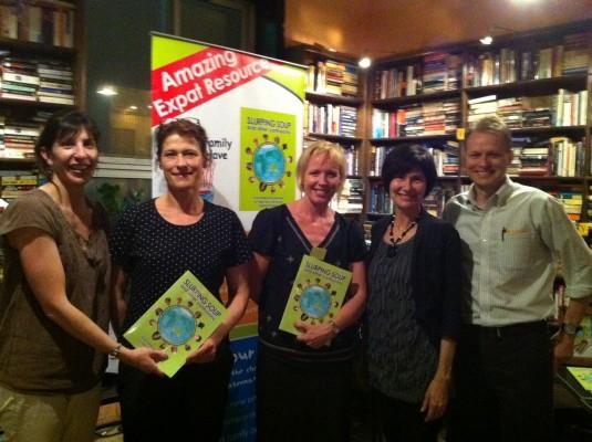 Authors Cherie Emigh and Kathryn Tonges greet TCK parents Mai Britt Klass, Lene Moller Andersen and Patrice Pare at The Bookworm 'Slurping Soup' event