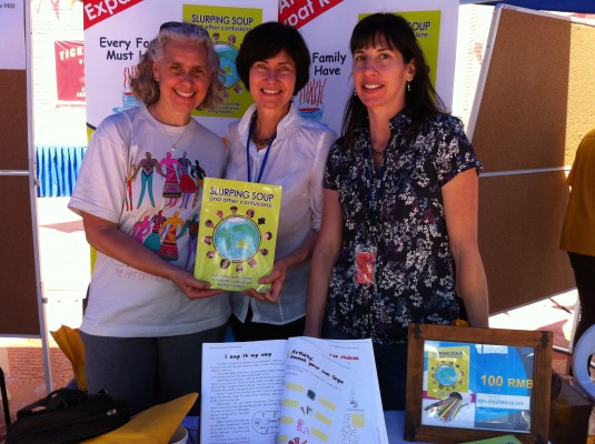 Karen Shrimpton, BISS school counsellor with Kathryn and Cherie helping parents use the resource via the school library