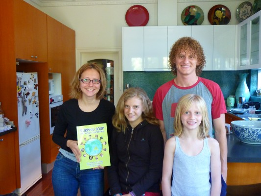 Lyndsey in Melbourne with her French tutor, Myriam who bought a copy of 'Slurping Soup'. Lyndsey's brother D'Arcy and sister Diana also feature in the book.