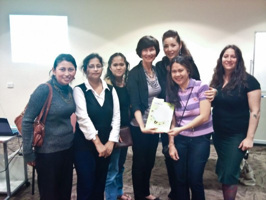 Some of the enthusiastic women at the Gladstone WIN presentation of Slurping Soup. L to R: Nayda Hernandez, Olive Nargas, Chetna Dave, Maria Birnoza, Kathryn Tonges, Fei Matheson, Natalia Muszkat.