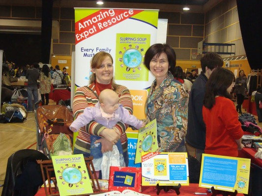 Slurping Soup co-athors Ulrike Gemmer with baby Line and Kathryn Tonges at their WAB Charity Bazaar stall 26 Nov, 2011