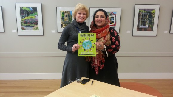 Tina Quick, author of The Global Nomad's Guide to University Transition  with Maryam Afnan Ahmad at the Slurping Soup book signing at FIGT Conference, 22nd March 2013. Tina is also Program Chair of Families in Global Transition (FIGT www.figt.org)