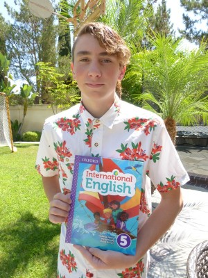 Hunter Emigh with Oxford International English student book 5